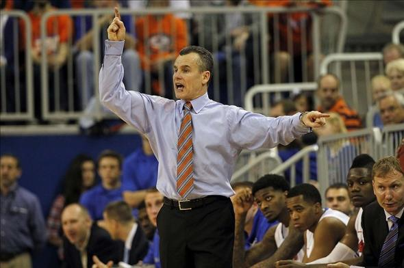 Feb 8, 2014; Gainesville, FL, USA; Florida Gators head coach Billy Donovan calls a play against the Alabama Crimson Tide during the second half at Stephen C. O