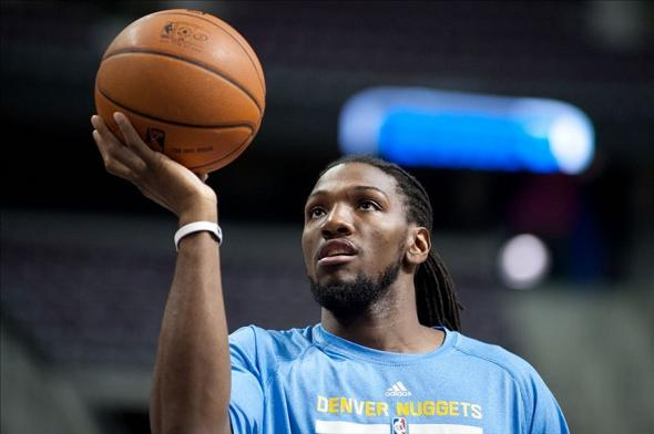 Feb 8, 2014; Auburn Hills, MI, USA; Denver Nuggets power forward Kenneth Faried (35) warms up before the game against the Detroit Pistons at The Palace of Auburn Hills. Mandatory Credit: Tim Fuller-USA TODAY Sports