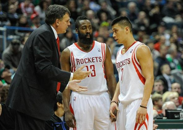 Feb 8, 2014; Milwaukee, WI, USA; Houston Rockets head coach Kevin McHale talks to guard James Harden (13) and guard Jeremy Lin (7) in the fourth quarter during the game against the Milwaukee Bucks at BMO Harris Bradley Center. Mandatory Credit: Benny Sieu-USA TODAY Sports