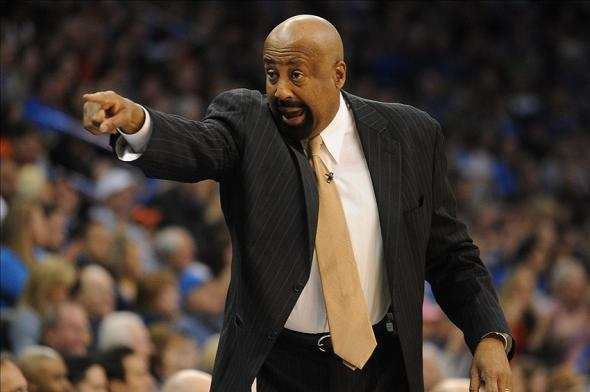 Feb 9, 2014; Oklahoma City, OK, USA; New York Knicks head coach Mike Woodson reacts from the sidelines against the Oklahoma City Thunder at Chesapeake Energy Arena. Mandatory Credit: Mark D. Smith-USA TODAY Sports