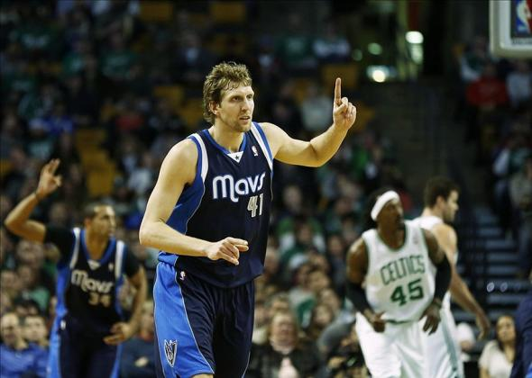 Feb 9, 2014; Boston, MA, USA; Dallas Mavericks power forward Dirk Nowitzki (41) celebrates against the Boston Celtics during the second half at TD Garden. Mandatory Credit: Mark L. Baer-USA TODAY Sports