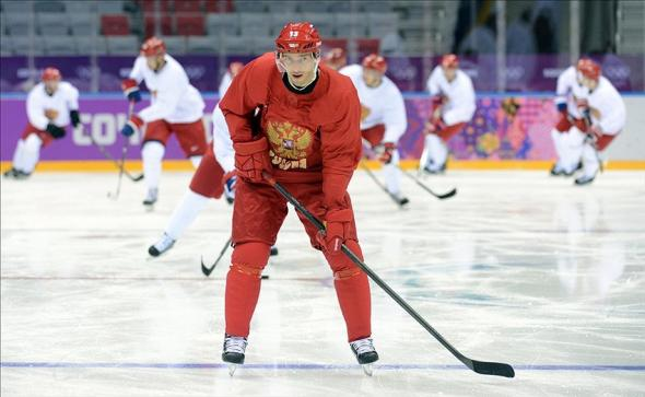 Feb 11, 2014; Sochi, RUSSIA; Russia forward Pavel Datsyuk (13) during an ice hockey training session for the Sochi 2014 Olympic Winter Games at Bolshoy Arena. Mandatory Credit: Jayne Kamin-Oncea-USA TODAY Sports