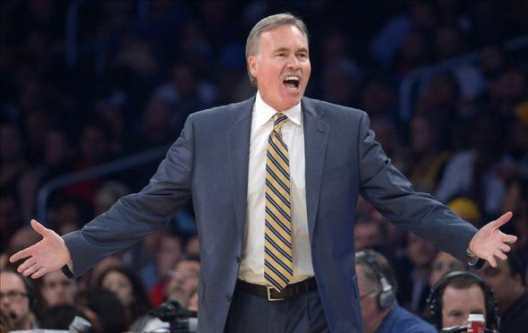 Feb 11, 2014; Los Angeles, CA, USA; Los Angeles Lakers coach Mike D'Antoni reacts during the game against the Utah Jazz at Staples Center. The Jazz defeated the Lakers 96-79. Mandatory Credit: Kirby Lee-USA TODAY Sports