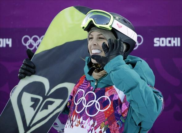 Feb 12, 2014; Krasnaya Polyana, RUSSIA; Torah Bright (AUS) reacts after her first run in ladies' halfpipe qualification during the Sochi 2014 Olympic Winter Games at Rosa Khutor Extreme Park. Mandatory Credit: Andrew P. Scott-USA TODAY Sports