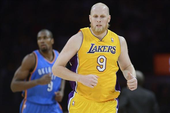 Feb 13, 2014; Los Angeles, CA, USA; Los Angeles Lakers center Chris Kaman (9) during the game against the Oklahoma City Thunder during the first quarter at the Staples Center. Mandatory Credit: Kelvin Kuo-USA TODAY Sports