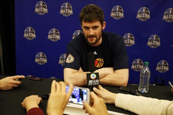 Feb 14, 2014; New Orleans, LA, USA; Western Conference forward Kevin Love during the 2014 NBA All Star game Player Press Conferences at New Orleans Hyatt. Mandatory Credit: Derick E. Hingle-USA TODAY Sports