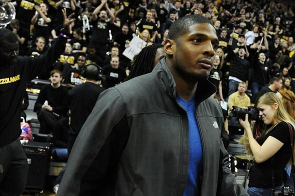Feb 15, 2014; Columbia, MO, USA; Former Missouri Tiger and draft prospect Michael Sam during the first half at Mizzou Arena. The Missouri Tigers defeated the Tennessee Volunteers 75-70. Mandatory Credit: Dak Dillon-USA TODAY Sports
