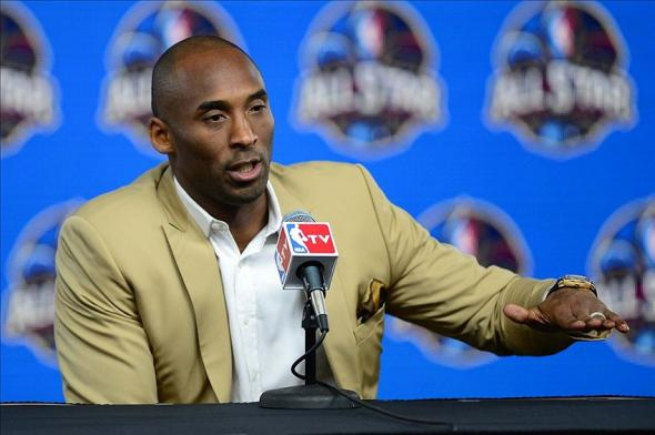 Feb 16, 2014; New Orleans, LA, USA; Los Angeles Lakers guard Kobe Bryant speaks during a press conference before the 2014 NBA All-Star Game at the Smoothie King Center. Mandatory Credit: Bob Donnan-USA TODAY Sports