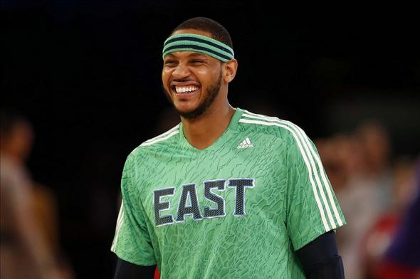 Feb 16, 2014; New Orleans, LA, USA; Eastern Conference forward Carmelo Anthony (7) of the New York Knicks before the 2014 NBA All-Star Game at the Smoothie King Center. Mandatory Credit: Derick E. Hingle-USA TODAY Sports