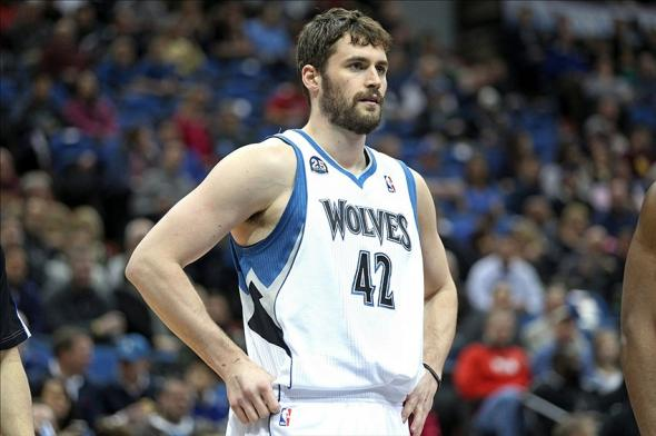 Feb 10, 2014; Minneapolis, MN, USA; Minnesota Timberwolves forward Kevin Love (42) against the Houston Rockets at Target Center. The Rockets defeated the Timberwolves 107-89. Mandatory Credit: Brace Hemmelgarn-USA TODAY Sports