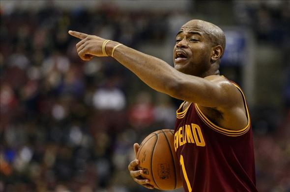 Feb 18, 2014; Philadelphia, PA, USA; Cleveland Cavaliers guard Jarrett Jack (1) sets up a play during the third quarter against the Philadelphia 76ers at the Wells Fargo Center. The Cavaliers defeated the Sixers 114-85. Mandatory Credit: Howard Smith-USA TODAY Sports