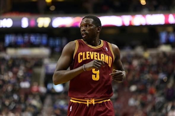 Feb 18, 2014; Philadelphia, PA, USA; Cleveland Cavaliers forward Luol Deng (9) during the third quarter against the Philadelphia 76ers at the Wells Fargo Center. The Cavaliers defeated the Sixers 114-85. Mandatory Credit: Howard Smith-USA TODAY Sports