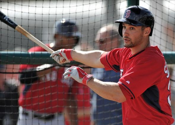Feb 21, 2014; Ft Myers, FL, USA; Boston Red Sox outfielder Grady Sizemore (38) at bat during spring training at JetBlue Park. Mandatory Credit: Steve Mitchell-USA TODAY Sports