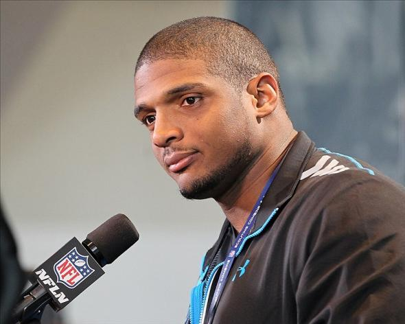 Feb 22, 2014; Indianapolis, IN, USA; Missouri Tigers defensive end Michael Sam speaks at the NFL Combine at Lucas Oil Stadium. Mandatory Credit: Pat Lovell-USA TODAY Sports