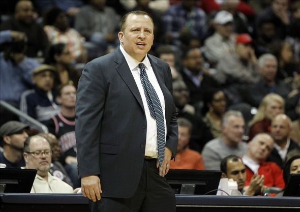 Feb 25, 2014; Atlanta, GA, USA; Chicago Bulls head coach Tom Thibodeau coaches against the Atlanta Hawks in the third quarter at Philips Arena. Mandatory Credit: Brett Davis-USA TODAY Sports