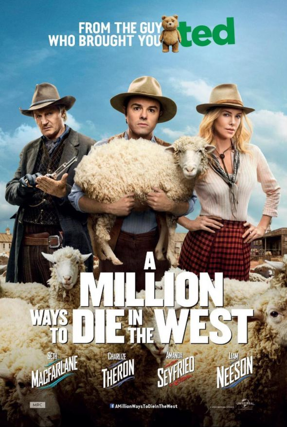 "Seth MacFarlane, Liam Neeson, and Charlize Theron as Albert, The Outlaw, and Anna in ""A Million Ways to Die in the West."" Photo Credit: Universal Pictures"