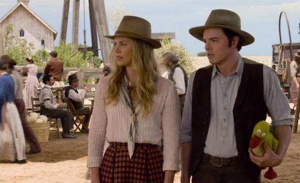 "Charlize Theron and Seth MacFarlane as Anna and Albert in the film ""A Million Ways to Die in the West."" Photo Credit: Universal Pictures"