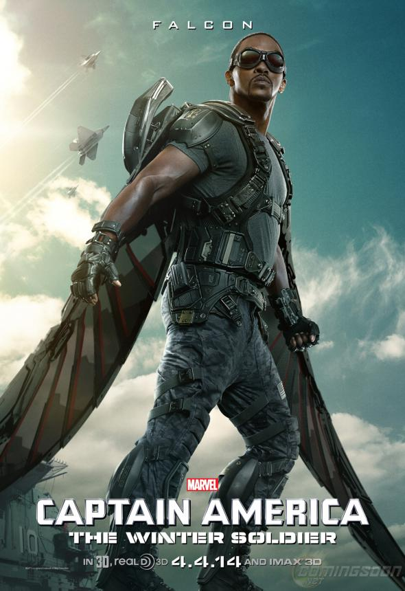"Anthony Mackie as Falcon in ""Captain America: The Winter Soldier."" Photo Credit: Marvel via ComingSoon.net"