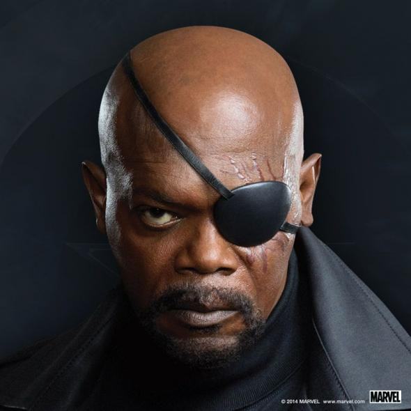 "Samuel L. Jackson as Nick Fury in a Promotional Image for ""Captain America: The Winter Soldier."" Photo Credit: Marvel via Skype"