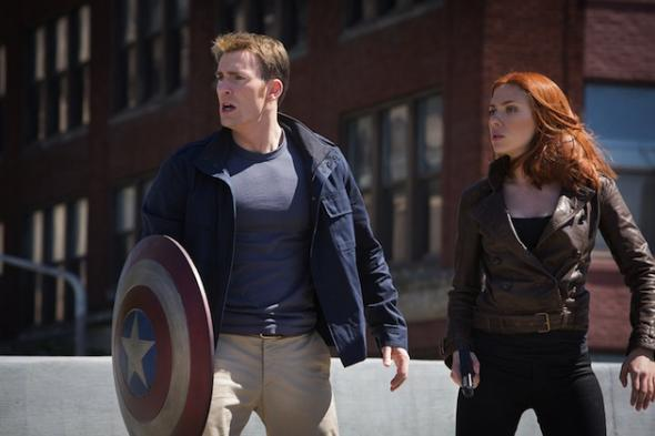"Chris Evans and Scarlett Johansson as Steve Rogers and Natasha Romanoff in the film ""Captain America: The Winter Soldier."" Photo Credit: Marvel"