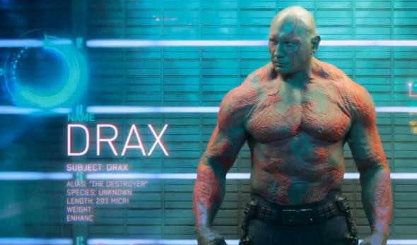 "Dave Bautista as Drax in ""Guardians of the Galaxy."" Photo Credit: Marvel"
