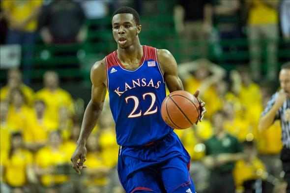 Feb 4, 2014; Waco, TX, USA; Kansas Jayhawks guard Andrew Wiggins (22) brings the ball up court during the first half against the Baylor Bears at the Ferrell Center. Mandatory Credit: Jerome Miron-USA TODAY Sports