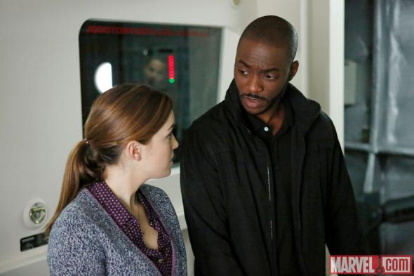 "Elizabeth Henstridge and B.J. Britt as Agents Simmons and Triplett in Season 1 Episode 14 of ""Marvel's Agents of S.H.I.E.L.D."" entitled ""T.A.H.I.T.I."" Photo Credit: Marvel"