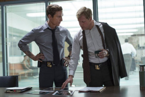 "Matthew McConaughey and Woody Harrelson as Detectives Rust Cohle and Martin Hart in the series ""True Detective."" Photo Credit: HBO"