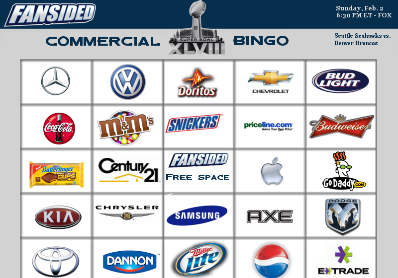 Super Bowl 2014 Commercial Bingo
