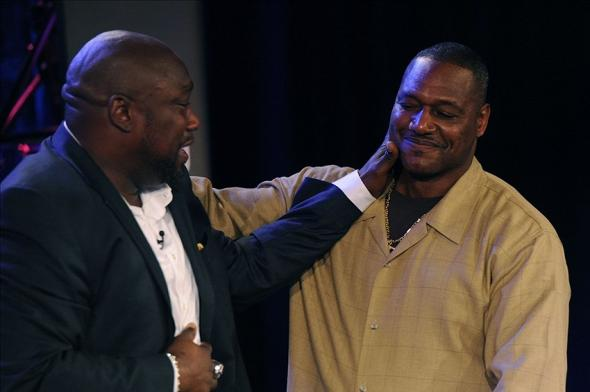 Feb 2, 2013; New Orleans, LA, USA; NFL former player Warren Sapp (left) hugs former player Derrick Brooks after being selected to the pro football hall of fame during a NFL Network presentation at the New Orleans Convention Center. Mandatory Credit: Robert Deutsch-USA TODAY Sports