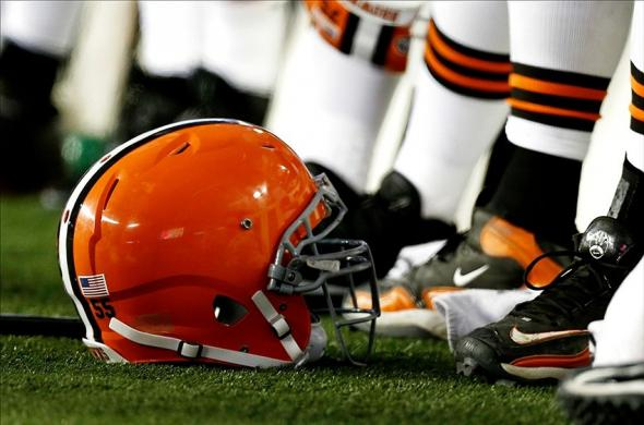 Dec 8, 2013; Foxborough, MA, USA; A Cleveland Browns helmet sits on the sidelines during the fourth quarter of New England