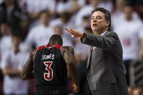 Feb 14, 2014; Philadelphia, PA, USA; Louisville Cardinals head coach Rick Pitino during the first half against the Temple Owls at the Liacouras Center. Louisville defeated Temple 82-58. Mandatory Credit: Howard Smith-USA TODAY Sports