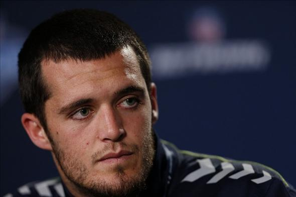 Feb 21, 2014; Indianapolis, IN, USA; Fresno State quarterback Derek Carr speaks to the media in a press conference during the 2014 NFL Combine at Lucas Oil Stadium. Mandatory Credit: Brian Spurlock-USA TODAY Sports