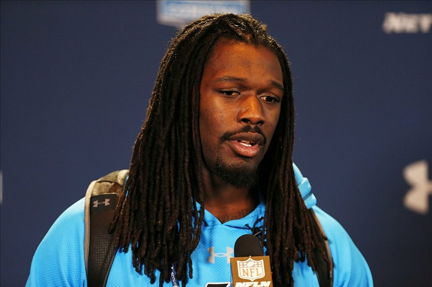 Feb 22, 2014; Indianapolis, IN, USA; South Carolina Gamecocks defensive end Jadeveon Clowney speaks to the media in a press conference during the 2014 NFL Combine at Lucas Oil Stadium. Mandatory Credit: Brian Spurlock-USA TODAY Sports