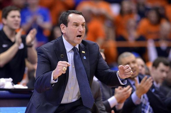 Feb 1, 2014; Syracuse, NY, USA; Duke Blue Devils head coach Mike Krzyzewski reacts to a play during the second half of a game against the Syracuse Orange at the at Carrier Dome. Syracuse won the game 91-89. Mandatory Credit: Mark Konezny-USA TODAY Sports