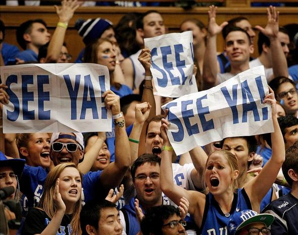 Feb 15, 2014; Durham, NC, USA; Duke Blue Devils fans chant at the end of their game against the Maryland Terrapins as Duke wins 69-67 at Cameron Indoor Stadium. Mandatory Credit: Mark Dolejs-USA TODAY Sports