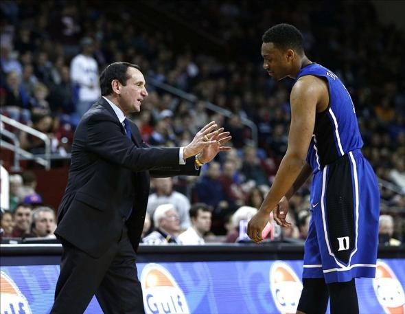 Feb 8, 2014; Chestnut Hill, MA, USA; Duke Blue Devils head coach Mike Krzyzewski reacts to a foul called against forward Jabari Parker (1) during the second half of a game against the Boston College Eagles at Silvio O. Conte Forum. Mandatory Credit: Mark L. Baer-USA TODAY Sports
