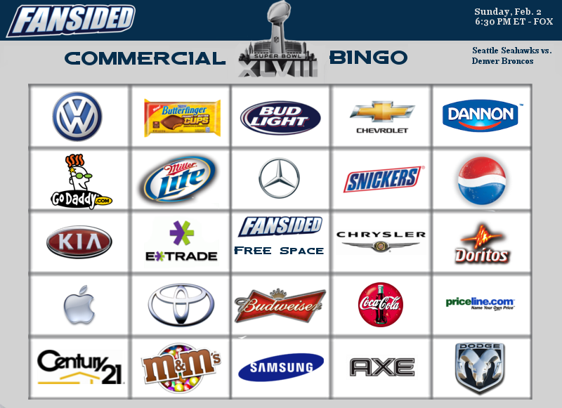 Here is the Super Bowl commercial bingo card that you can print out ...