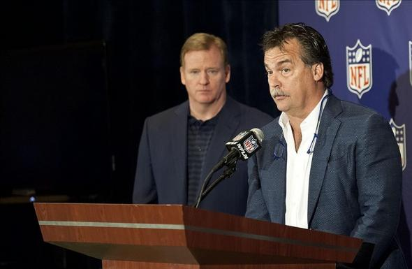 March 20, 2013; Phoenix, AZ, USA; St. Louis Rams head coach Jeff Fisher (right) speaks as NFL commissioner Roger Goodell looks on during a press conference at the annual NFL meetings at the Arizona Biltmore. Mandatory Credit: Casey Sapio-USA TODAY Sports