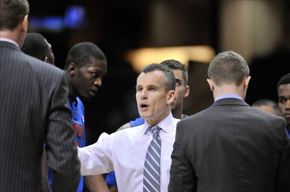 Feb 25, 2014; Nashville, TN, USA; Florida Gators head coach Billy Donovan in the huddle during a second half time out against the Vanderbilt Commodores at Memorial Gym. Florida won 57-54. Mandatory Credit: Jim Brown-USA TODAY Sports