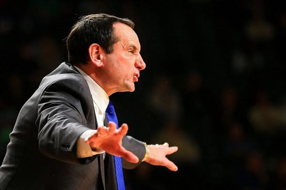 Feb 18, 2014; Atlanta, GA, USA; Duke Blue Devils head coach Mike Krzyzewski signals to his players in the second half against the Georgia Tech Yellow Jackets at Hank McCamish Pavilion. Duke won 68-51. Mandatory Credit: Daniel Shirey-USA TODAY Sports