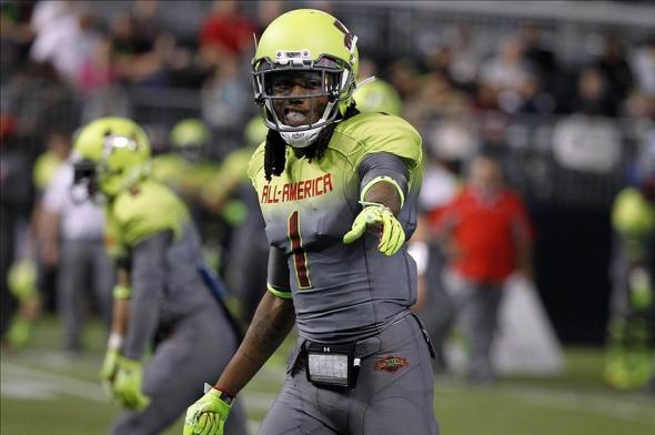 Jan 2, 2014; St. Petersburg, FL, USA; Team Nitro wide receiver Ermon Lane (1) during the first half in the Under Armour All America football game at Tropicana Field. Mandatory Credit: Kim Klement-USA TODAY Sports