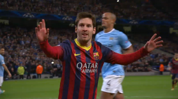 Messi celebrates a goal against Manchester City in Champions League play