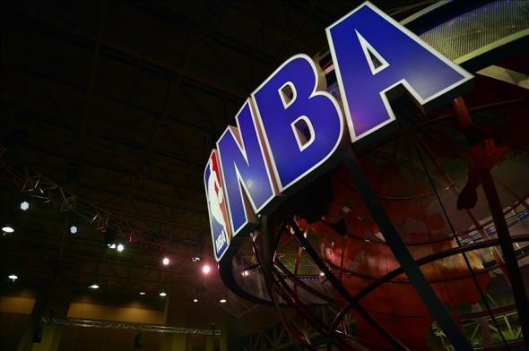 Feb 15, 2014; New Orleans, LA, USA; A view NBA logo during the NBA All Star Jam Session at the Ernest N. Morial Convention Center. Mandatory Credit: Bob Donnan-USA TODAY Sports