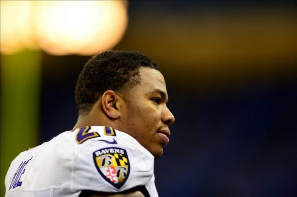 Dec 16, 2013; Detroit, MI, USA; Baltimore Ravens running back Ray Rice (27) against the Detroit Lions at Ford Field. Mandatory Credit: Andrew Weber-USA TODAY Sports
