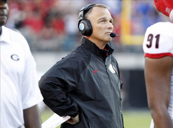 Nov 2, 2013; Jacksonville, FL, USA; Georgia Bulldogs head coach Mark Richt looks up during the second half against the Florida Gators at EverBank Field. Georgia Bulldogs defeated the Florida Gators 23-20. Mandatory Credit: Kim Klement-USA TODAY Sports