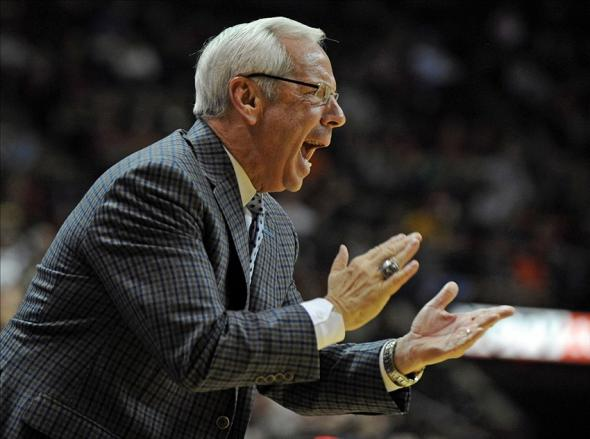 Feb 17, 2014; Tallahassee, FL, USA; North Carolina Tarheels head coach Roy Williams yells from the sidelines against the Florida State Seminoles at the Donald L. Tucker Center. Mandatory Credit: Melina Vastola-USA TODAY Sports