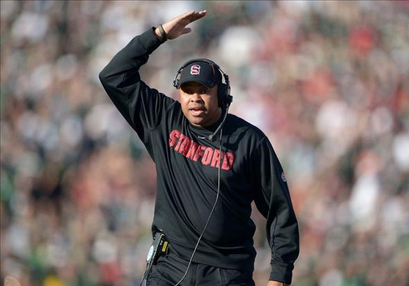 Jan 1, 2014; Pasadena, CA, USA; Stanford Cardinal coach David Shaw gestures during the 100th Rose Bowl against the Michigan State Spartans. Mandatory Credit: Kirby Lee-USA TODAY Sports