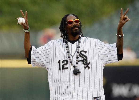 May 24, 2012; Chicago, IL, USA; Recording artist Snoop Dogg gestures to the crowd before the game between the Chicago White Sox and the Minnesota Twins at US Cellular Field. Mandatory Credit: Jerry Lai-USA TODAY Sports