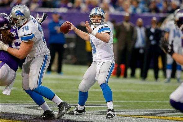 Dec 29, 2013; Minneapolis, MN, USA; Detroit Lions quarterback Matthew Stafford (9) passes against the Minnesota Vikings in the fourth quarter at Mall of America Field at H.H.H. Metrodome. The Vikings win 14-13. Mandatory Credit: Bruce Kluckhohn-USA TODAY Sports